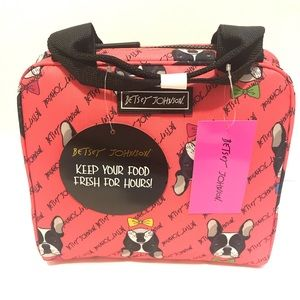NWT! Coral Pink Betsy Johnson RARE FIND lunch tote
